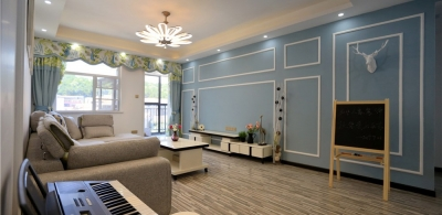128平三室两厅蓝色系北欧