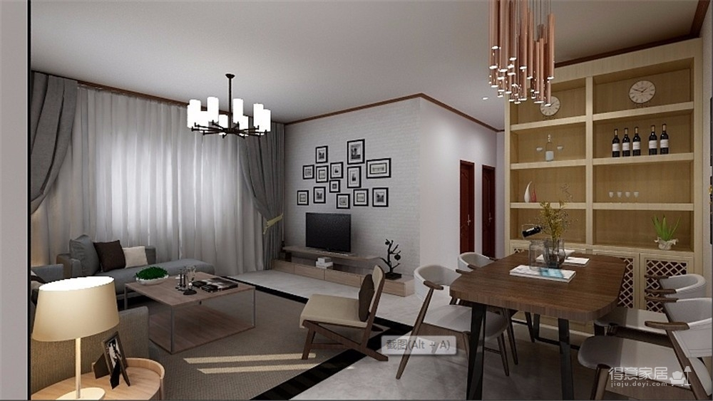 在旁边用实木线条做了墙面装饰,墙面做定制衣柜,储物空间比较强大。整体干净大气,不失格调。图_6