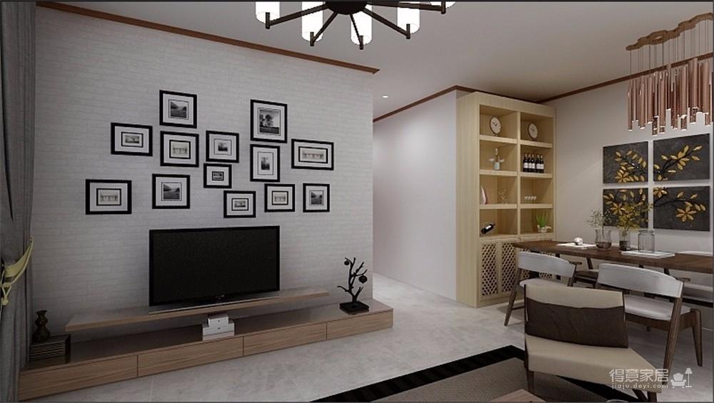 在旁边用实木线条做了墙面装饰,墙面做定制衣柜,储物空间比较强大。整体干净大气,不失格调。图_3