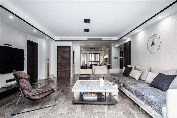 """180现代简约风,黑白灰是整个房屋的主色调,很好的满足了业主""""冷静理智""""的空间需求"""