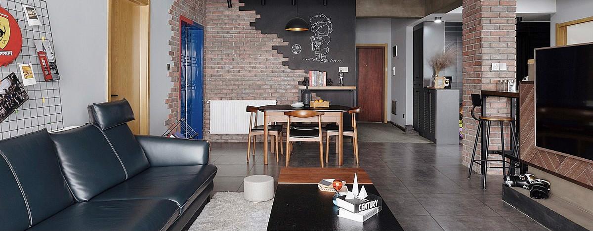 御江楼108㎡复古工业风,半隔断电视背景墙显得空间超大!