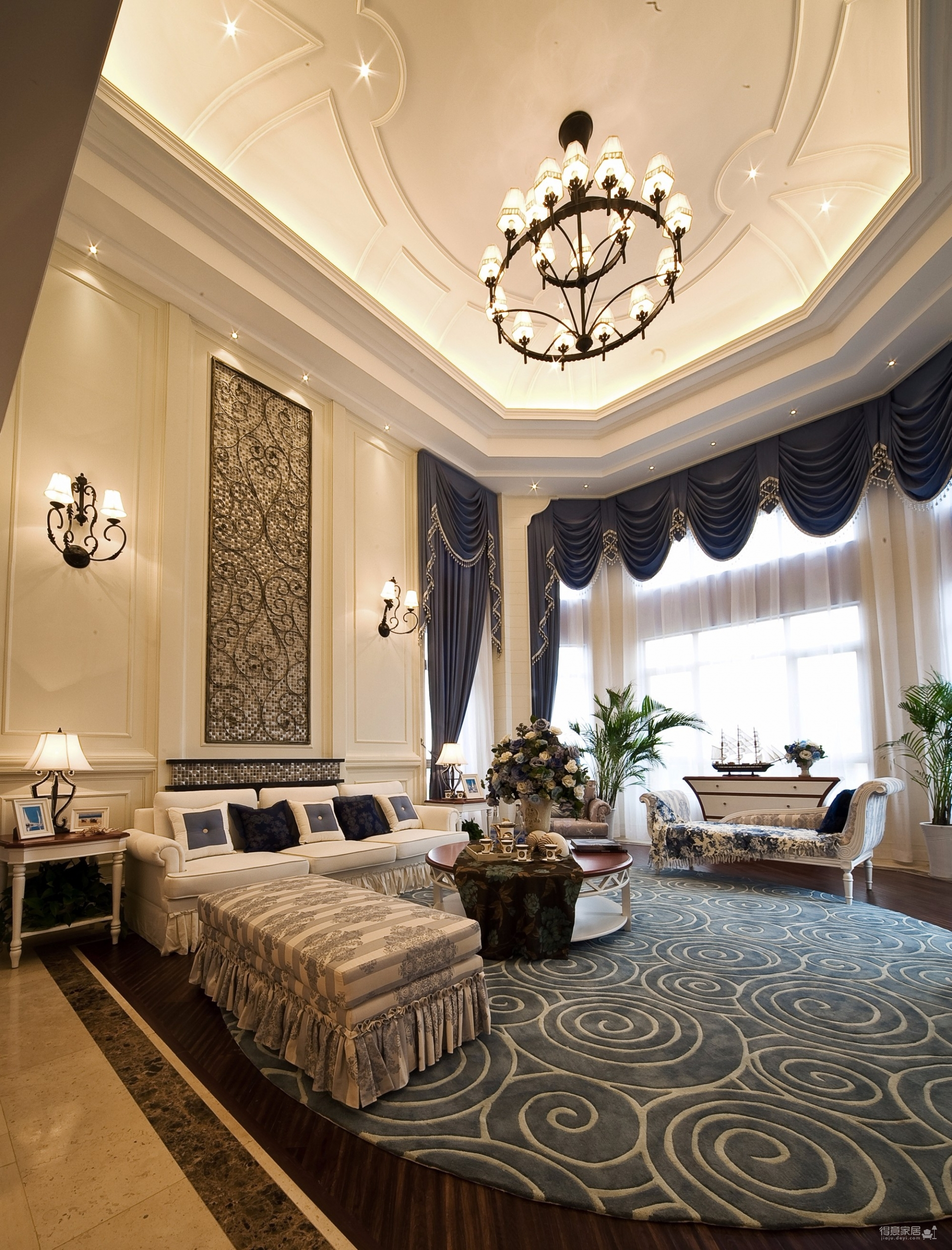 地中海精装的三居室案例分享