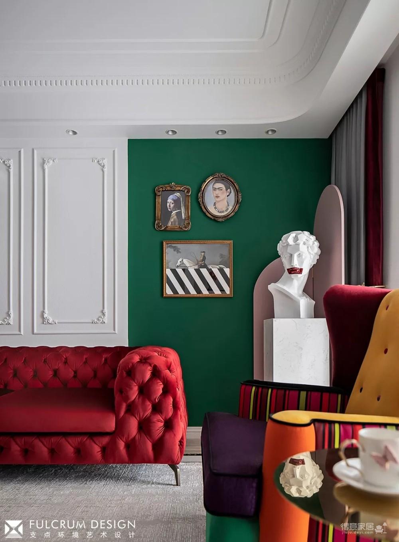 1+1>2 红绿CP喜形于色,精装房也能时髦高调图_7