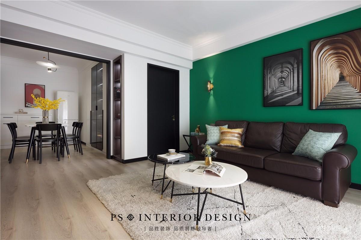 锦绣中北墨绿色的墙,两室两厅现代风图_4