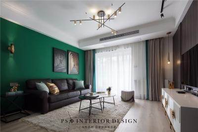 锦绣中北墨绿色的墙,两室两厅现代风