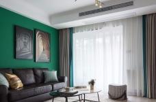 锦绣中北墨绿色的墙,两室两厅现代风图_1