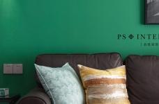 锦绣中北墨绿色的墙,两室两厅现代风图_2