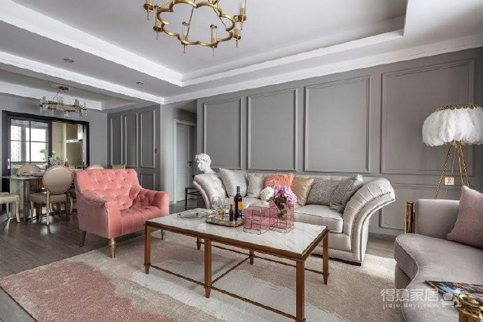 126平现代美式风装修,喜欢粉色和灰色搭配的家,温馨又有情趣图_3