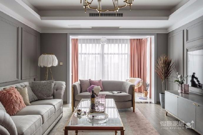 126平现代美式风装修,喜欢粉色和灰色搭配的家,温馨又有情趣图_4