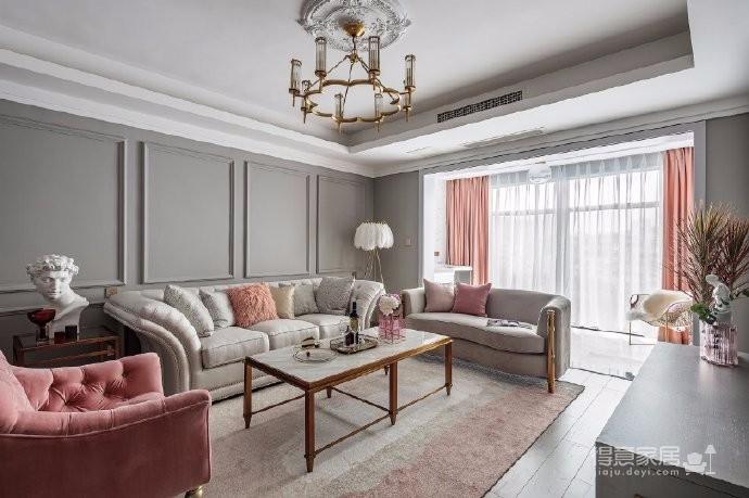 126平现代美式风装修,喜欢粉色和灰色搭配的家,温馨又有情趣图_1