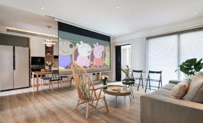 80平文艺北欧风装修,整屋风格风格偏简洁,暖灯,粉墙,再加上点绿意,超级温馨