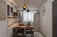 整体空间以简约的白色墙与木质感为主,通过日式的家具与禅意的细节布置,营造出一个舒适自然的端庄气质空间,给人以无限放松的居家体验,宽敞优雅而自然图_5