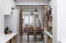 整体空间以简约的白色墙与木质感为主,通过日式的家具与禅意的细节布置,营造出一个舒适自然的端庄气质空间,给人以无限放松的居家体验,宽敞优雅而自然图_7
