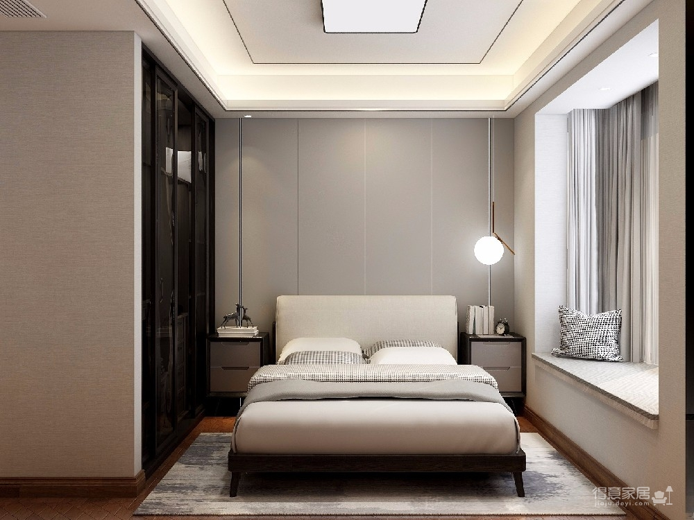 本案设计是现代简约风格,在现代的繁华时代的都市,现代风格尤为让年轻人追捧,简单的线条,简单的颜色,简单的风格让疲惫的业主回到家有种解放的感觉。图_5
