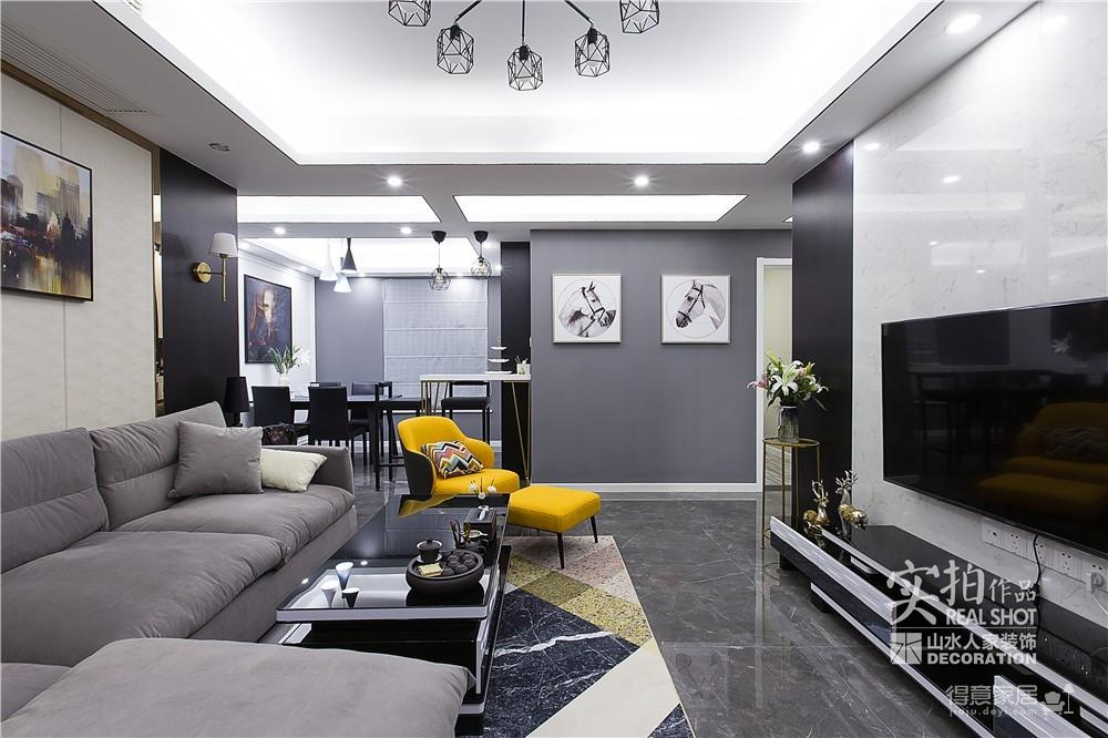 黑白灰128平四室两厅现代简约图_12