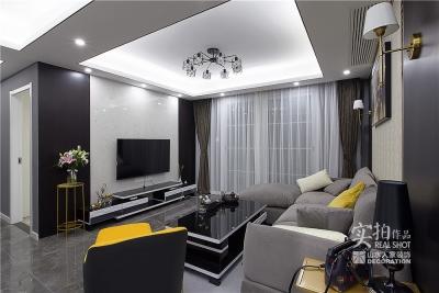黑白灰128平四室两厅现代简约