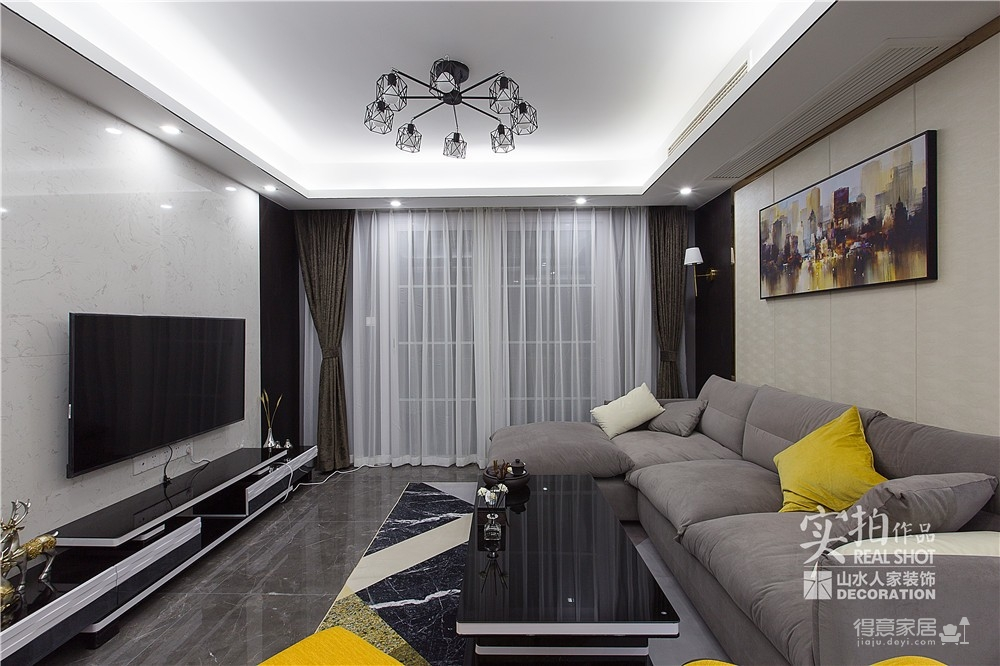 黑白灰128平四室两厅现代简约图_9