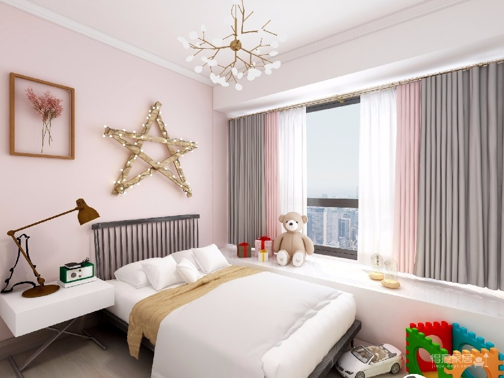 粉色+灰蓝,好比绅士与淑女的组合,一个完美而舒适的家居空间