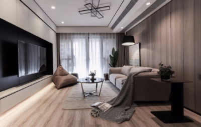 107平米现代简约四居室,墙面地面通过材质的运用,达到视觉上的统一和谐,使空间整体协调又显大