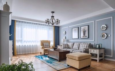 非常温柔浪漫的美式风格,浅蓝色系的新派优雅,线框护墙板背景墙