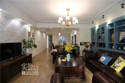 一抹蓝色142平三室两厅美式
