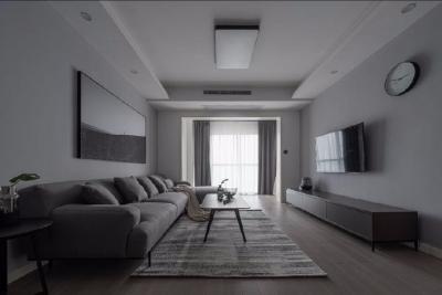 100平米灰色调现代简约三居室