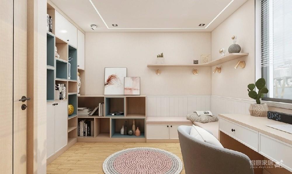 采用线条磁吸轨道灯搭配出现代的简洁,地砖的直线条分割拼贴与吊顶轨道线条相呼应,延长小空间的空间感。