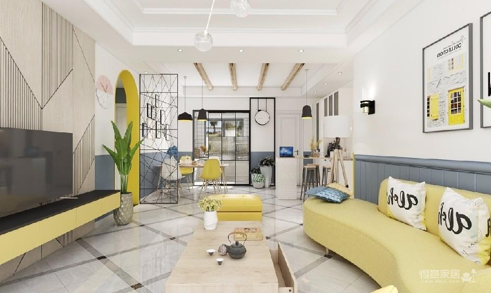 客厅用色彩创造了一个多层次的空间,黄色的跳跃,蓝色的沉稳,冷暖色的碰撞,总能给人惊喜