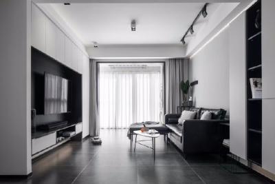 105平米极简黑白风两居室,把所有的爱都装进家里
