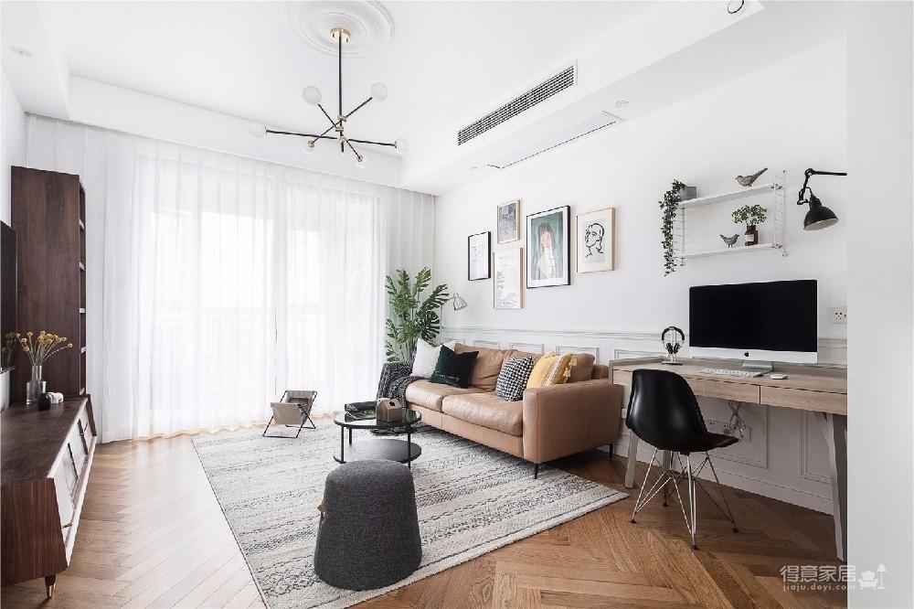 对家的构想:既要舒适,也要养眼。把书桌融入客厅,玄关用的是模仿壁炉的做法 把北欧的生活理念引入居家,惬意的宅家时光就这么开始了。图_1