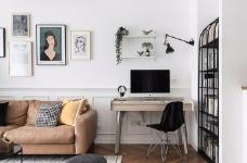对家的构想:既要舒适,也要养眼。把书桌融入客厅,玄关用的是模仿壁炉的做法 把北欧的生活理念引入居家,惬意的宅家时光就这么开始了。图_2