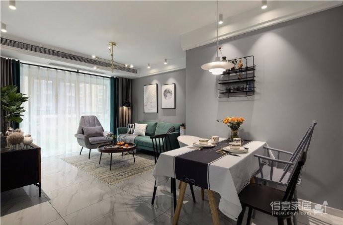 97平北欧风装修,客厅的配色以灰色为主,绿色为点缀,清新又有格调图_2
