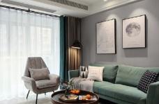97平北欧风装修,客厅的配色以灰色为主,绿色为点缀,清新又有格调图_1