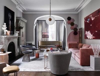 艺术品和家具的大胆配色,奢华与现代的完美结合!