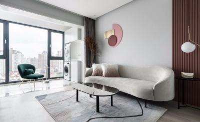73平米高级灰+脏粉北欧风格一居室