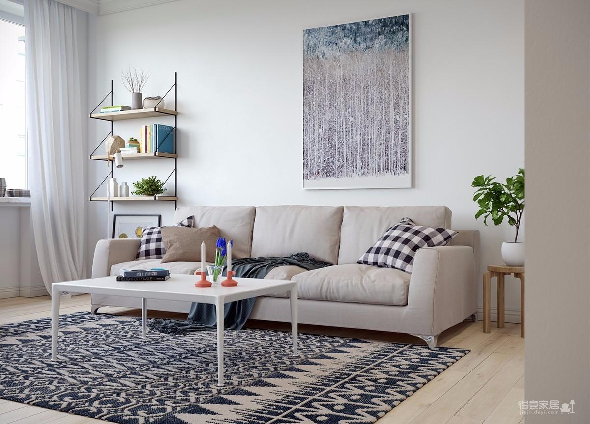 以线性轮廓创造出的空间,让空气、能量更加自由流动。现代简约,简洁而不简单。整体的搭配以冷色调为主,房间绿植摆设很多,为生活增添一些生机。
