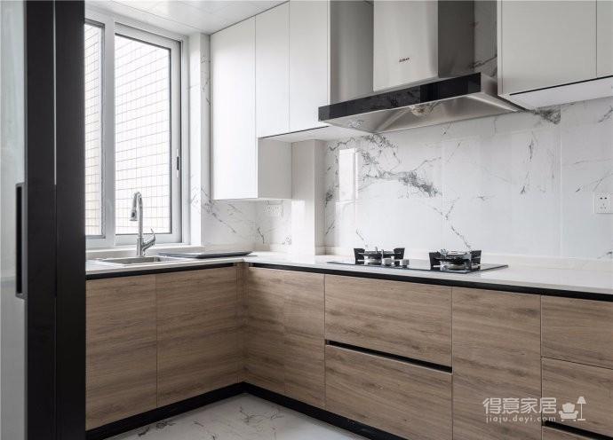 120平米黑白+木现代轻奢三居室
