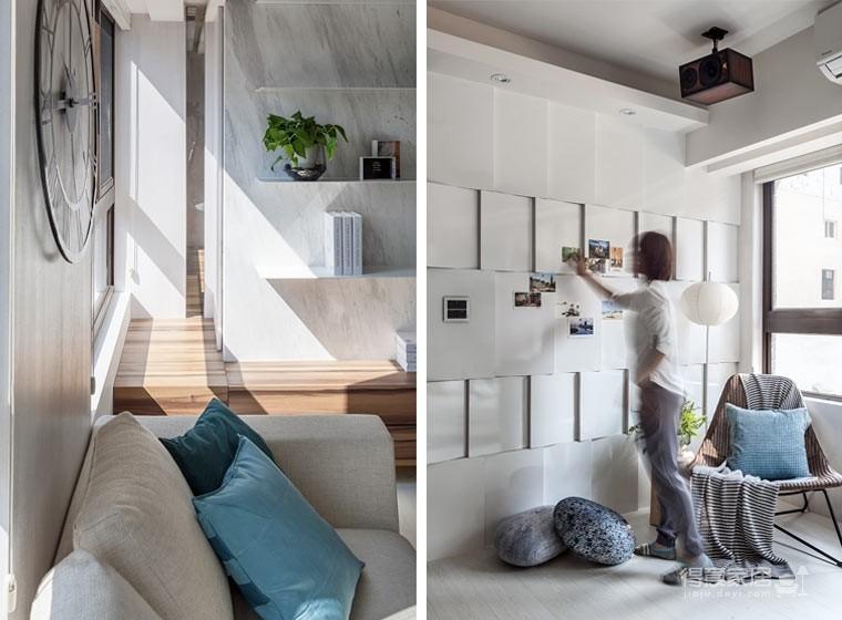 59㎡蓝白系单身公寓设计,散发着慵懒度假氛围!图_3