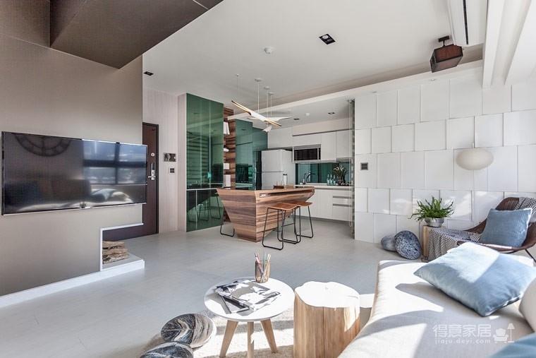 59㎡蓝白系单身公寓设计,散发着慵懒度假氛围!图_5