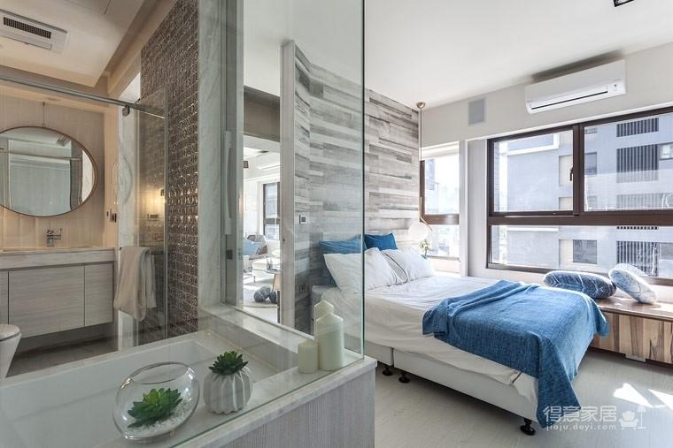 59㎡蓝白系单身公寓设计,散发着慵懒度假氛围!图_8