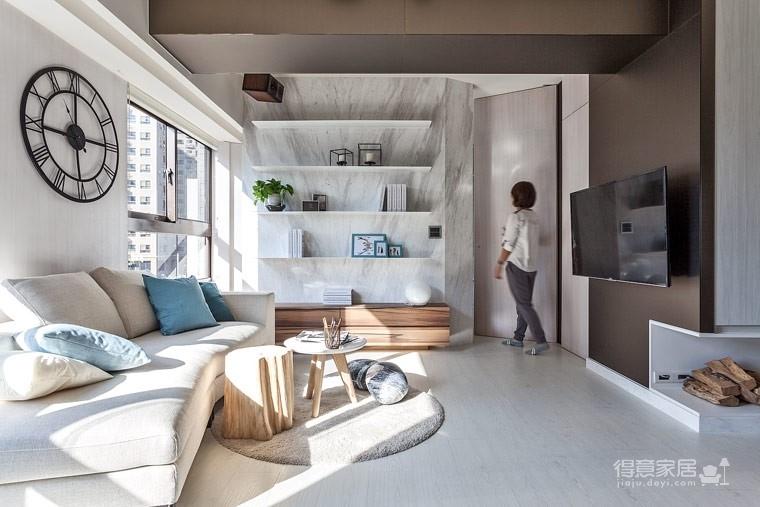 59㎡蓝白系单身公寓设计,散发着慵懒度假氛围!图_1