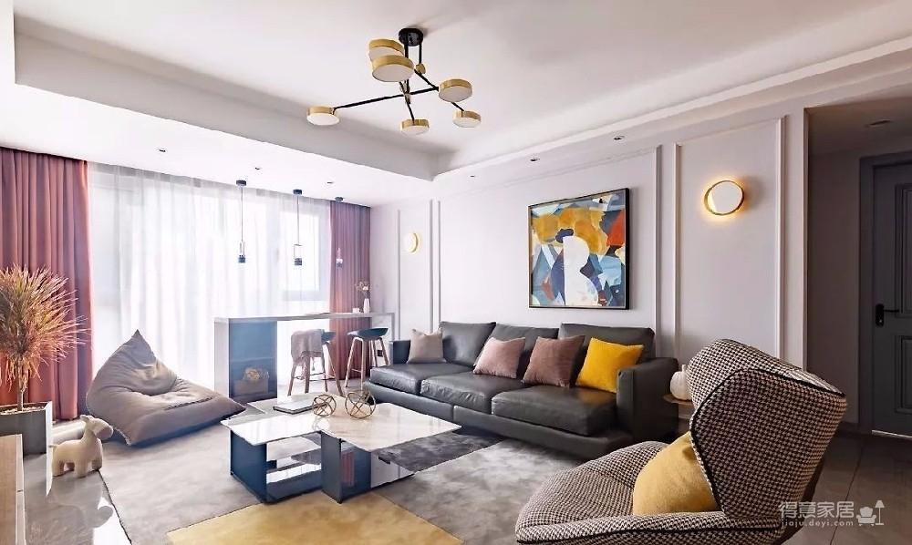 大量的灰色作为空间基调,结合软装调色处理,以及大幅抽象挂画、左右石材壁灯的装饰,简约中不乏轻奢格调