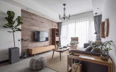 整体以原木色为主,家具搭配绿植,显得十分有生机活力。在崇尚回归自然、注重环保健康的今天。简约自然的原木风也是广受欢迎的一种家装风格。