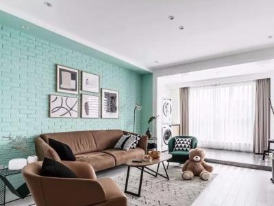 97平清新北欧三室 相当和谐的蓝与绿