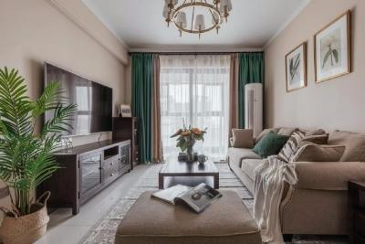 80平精装房软装设计,清新淡雅的简约美式,适合喜欢舒适,休闲空间氛围的你