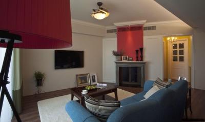 130平三室,一抹红色复古风