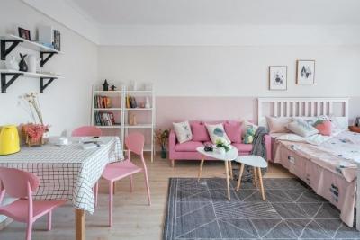60平小户型装修,整体以白色、粉色、木色为设计基调。