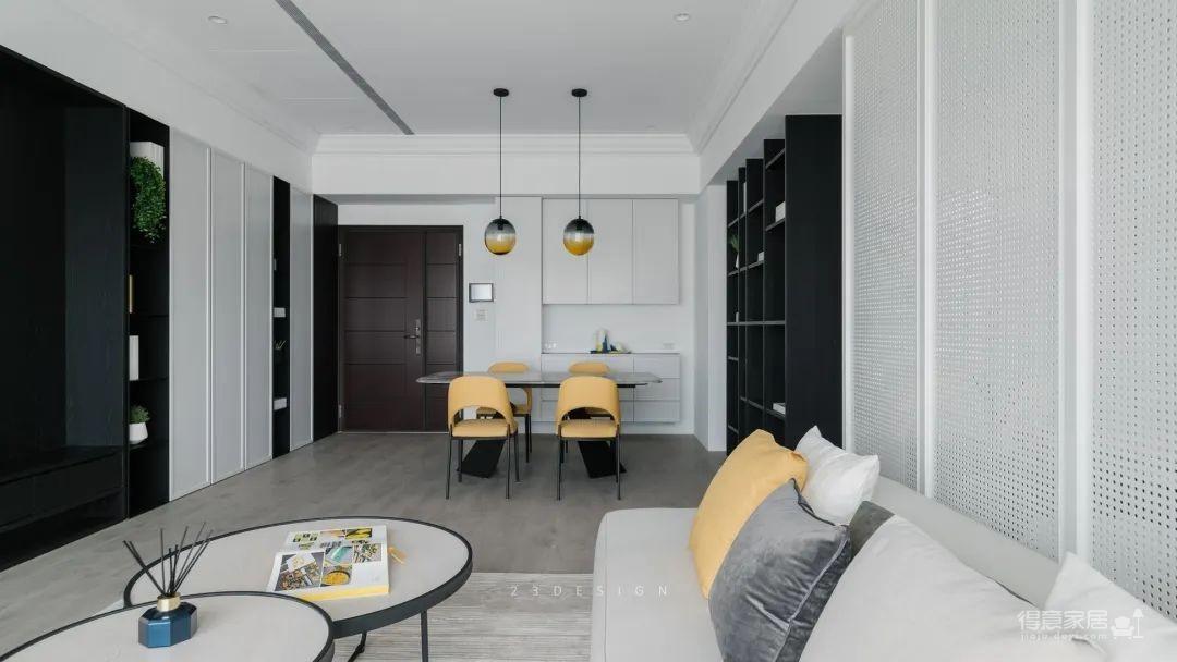 110㎡现代简约,端庄的空间,加入活力黄色,营造沉稳跳跃的家