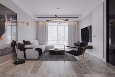 120㎡现代轻奢风,整个空间的色调以素净的黑白灰为主,搭配怀旧而不失优雅的墨绿色,整个空间充满雅致和浪漫的气息