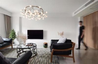 180㎡现代混搭风格装修,整体色调温暖而有质感